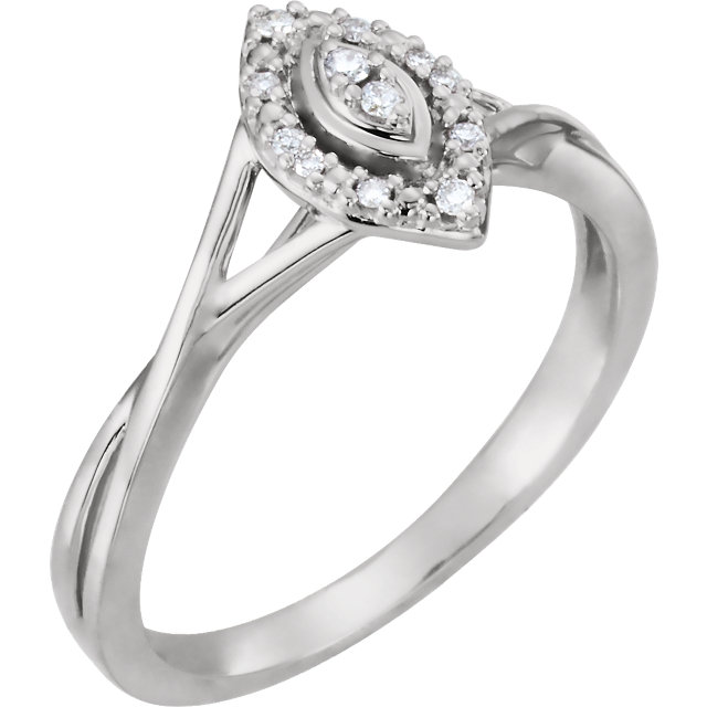 Buy Real 10 KT White Gold .06 Carat TW Diamond Promise Ring