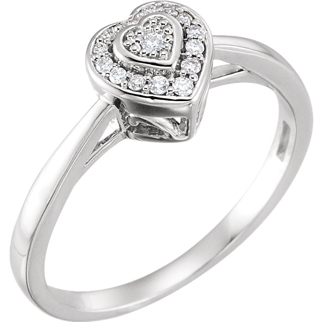 Great Buy in 10 KT White Gold .08 Carat TW Diamond Heart Promise Ring