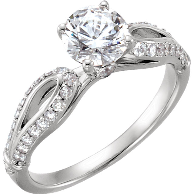 10 KT White Gold 1 1/8 Carat TW Diamond Engagement Ring