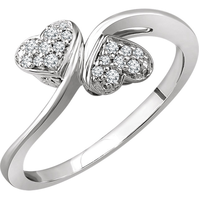 Perfect Jewelry Gift 10 Karat White Gold 0.10 Carat Total Weight Diamond Heart Promise Ring