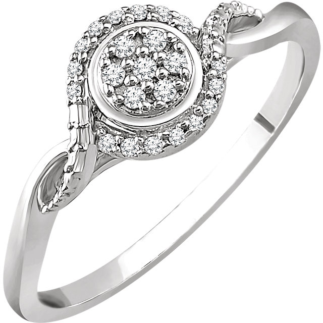 Appealing Jewelry in 10 Karat White Gold 0.10 Carat Total Weight Diamond Promise Ring