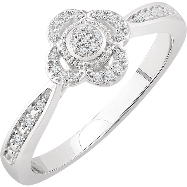 Surprise Her with  10 Karat White Gold 0.10 Carat Total Weight Diamond Promise Ring