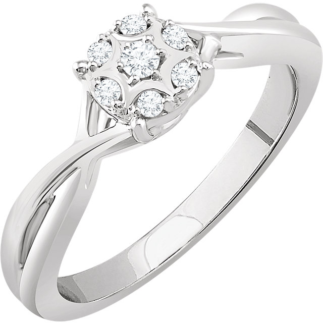 Very Nice 10 Karat White Gold 0.10 Carat Total Weight Diamond Promise Ring