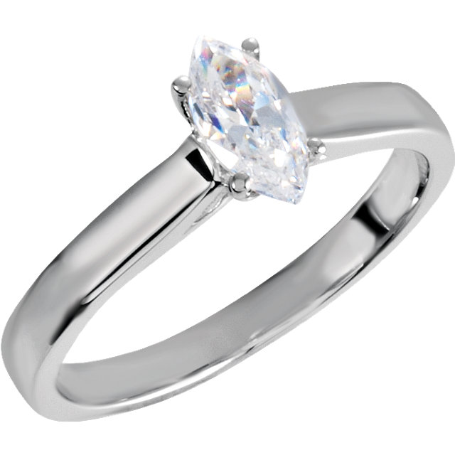 Genuine 10 Karat White Gold 0.50 Carat Diamond Engagement Ring