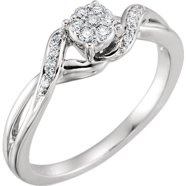 10 Karat White Gold 0.12 Carat Diamond Cluster Promise Ring