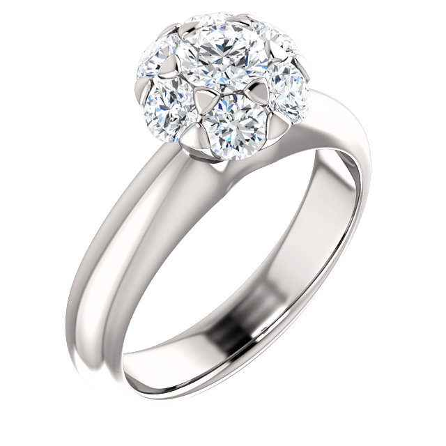 Appealing Jewelry in 10 Karat White Gold 1 Carat Total Weight Diamond Cluster Engagement Ring