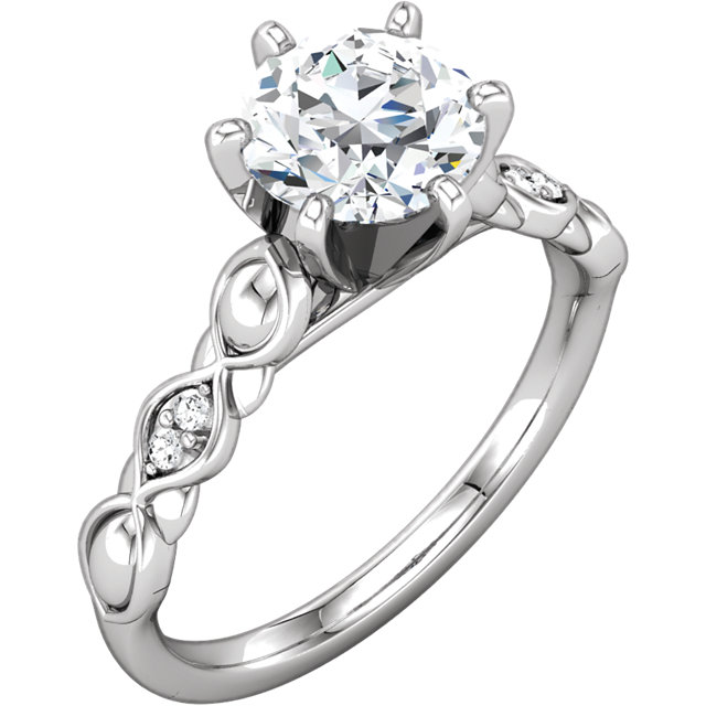 Shop Real 10 KT White Gold & 14 KT White Gold 0.33 Carat TW Diamond Engagement Ring