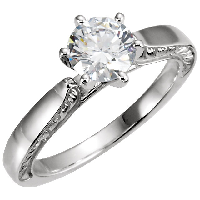 10 Karat White Gold & 14 Karat White Gold 0.25 Carat Diamond Engagement Ring