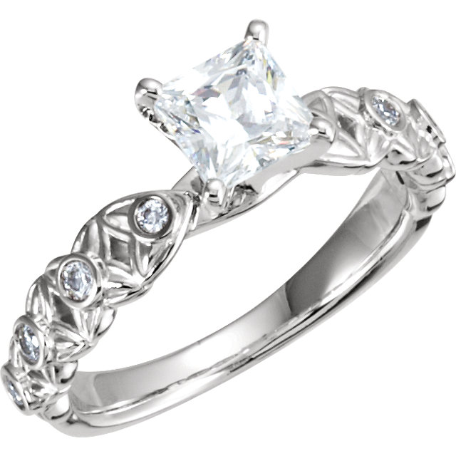 10 Karat White Gold & 14 Karat White Gold 4.5mm Square 3/4 Carat Total Weight Diamond Semi-Set Engagement Ring