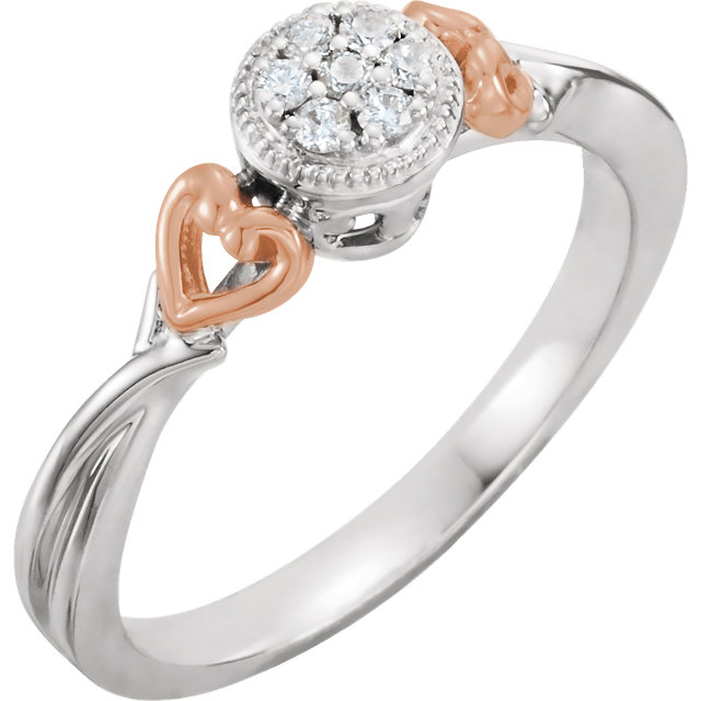 10 Karat White Gold & Rose 0.10 Carat Diamond Promise Ring