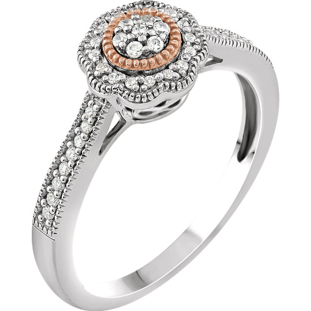 Perfect Gift Idea in 10 Karat White Gold & Rose 0.17 Carat Total Weight Diamond Promise Ring