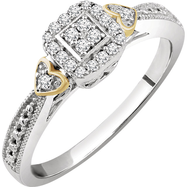 Great Deal in 10 Karat White Gold & Yellow 0.17 Carat Total Weight Diamond Promise Ring