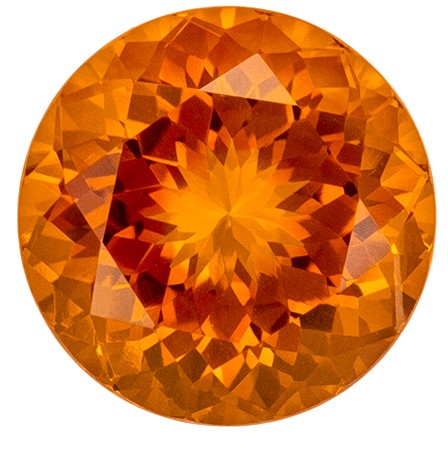 10 mm Citrine Genuine Gemstone in Round Cut, Golden Orange, 3.75 carats