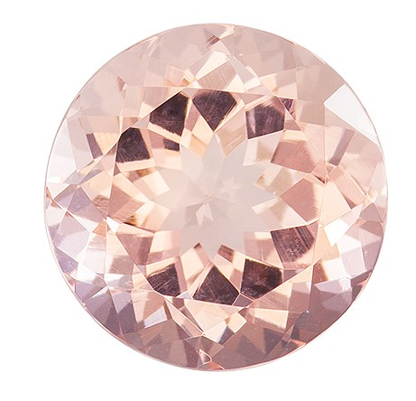 10 mm Morganite Genuine Gemstone in Round Cut, Medium Peach, 3.6 carats