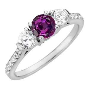 100% Color Change 1 ct GEM Grade Real Brazilian Alexandrite Engagement Ring with Lots of Diamond Accents