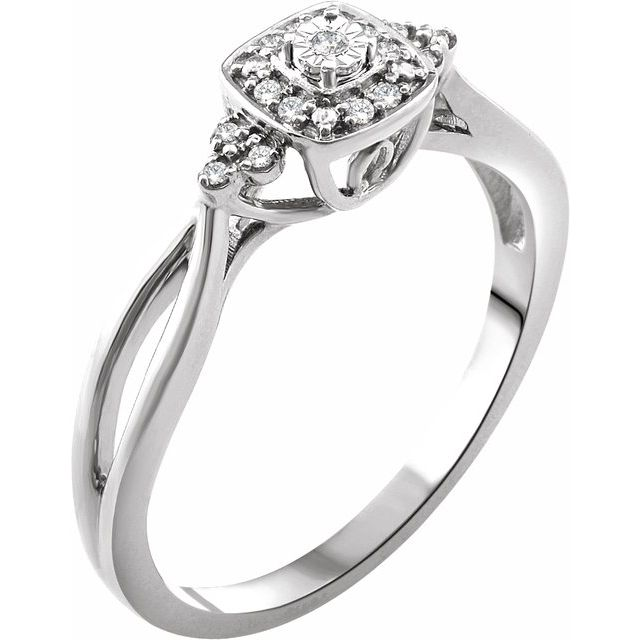 White Diamond Ring in 10 Karat White Gold .05 Carat Diamond Promise Ring