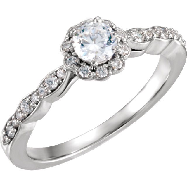 10K White 1/2 CTW Diamond Halo-Style Engagement Ring