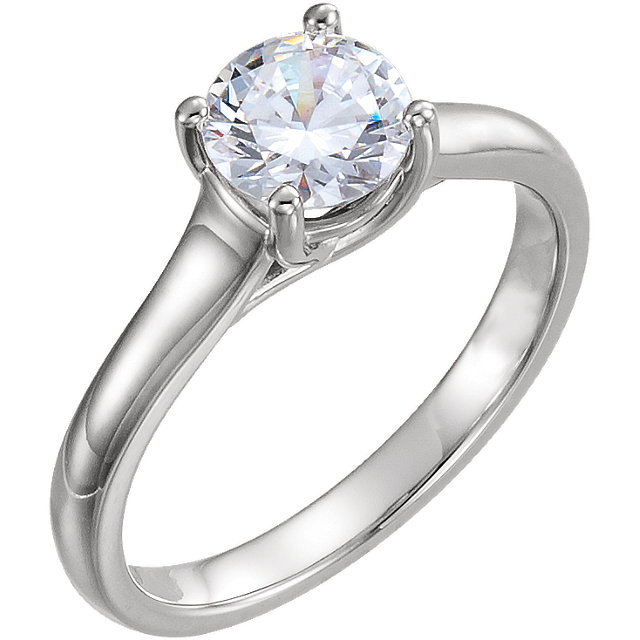 Perfect Gift Idea in 10 Karat White Gold 1 Carat Total Weight Diamond Solitaire Engagement Ring