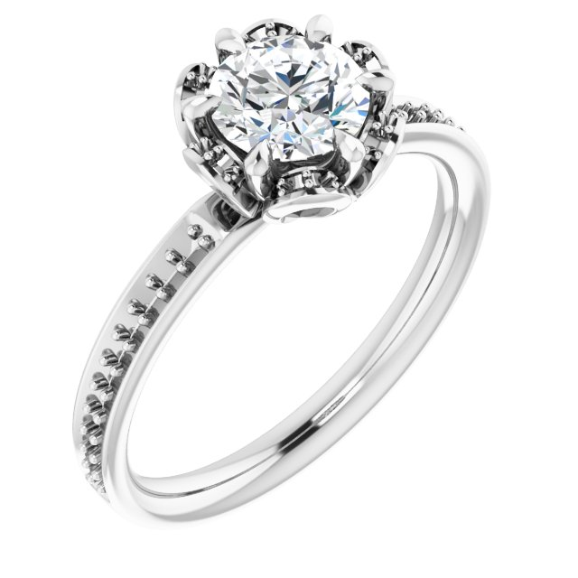White Diamond Ring in 10 Karat White Gold 5.8 mm Round Cubic Zirconia & 1/8 Carat Diamond Engagement Ring