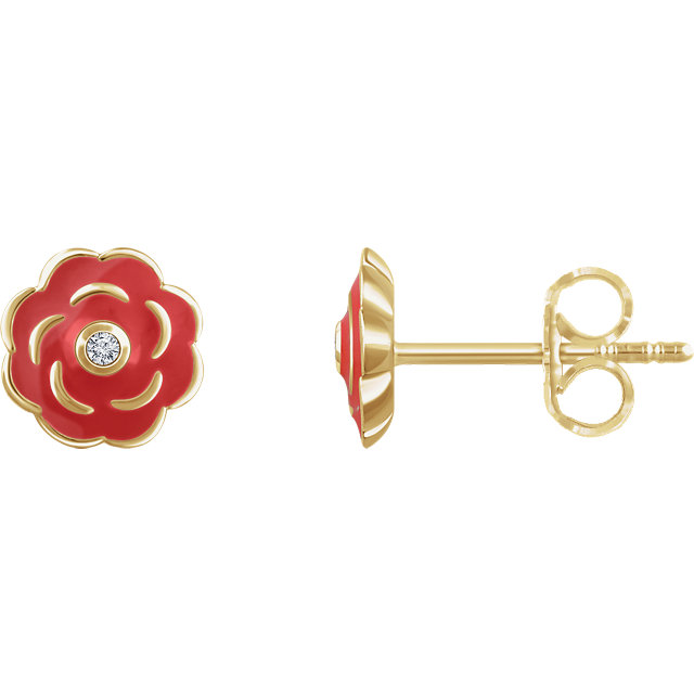 Great Deal in 10 Karat Yellow Gold .01 Carat Total Weight Diamond Enamel Flower Earrings