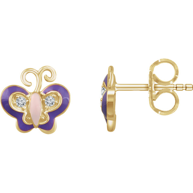 Contemporary 10 Karat Yellow Gold .03 Carat Total Weight Diamond Enamel Butterfly Earrings