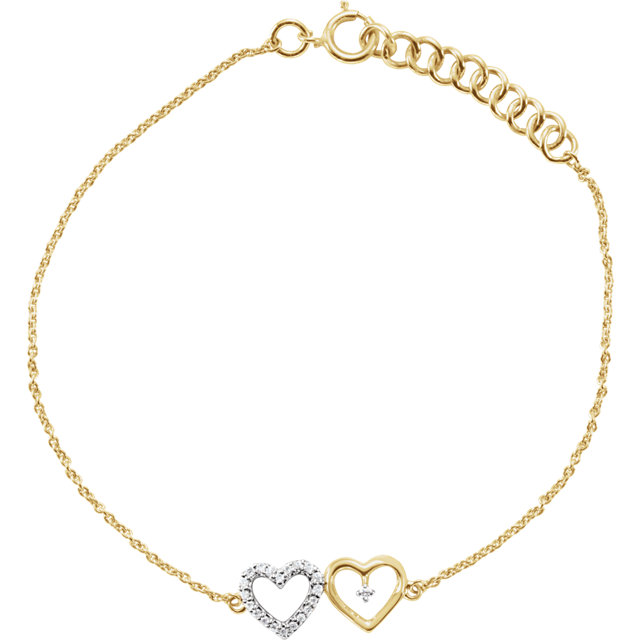 10 Karat Yellow Gold .07 Carat Diamond Double Heart 7