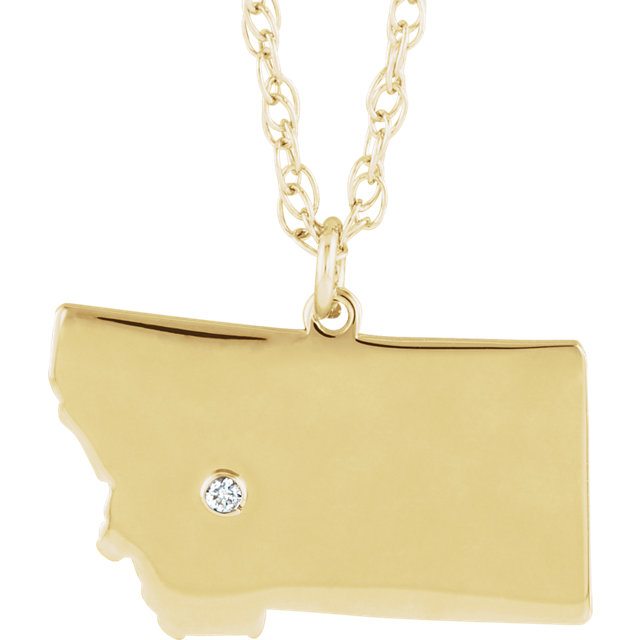 Great Buy in 10 KT Yellow Gold Montana .015 Carat Diamond State with Accented City Necklace