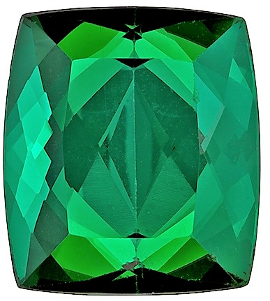 11.1 x 9.8 mm Green Tourmaline Genuine Gemstone in Cushion Cut, Rich Grass Green, 5.84 carats