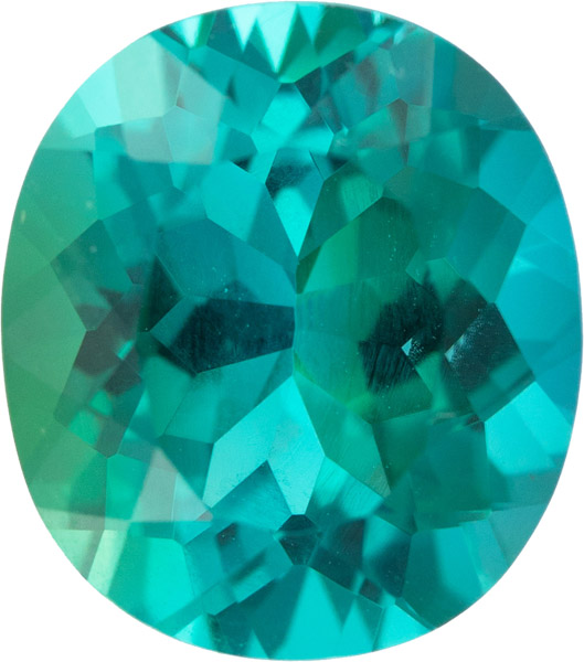 Incredible Color in Neon Greenish Blue Oval Tourmaline Gem in Vivid Blue Teal Green, 4.33 carats