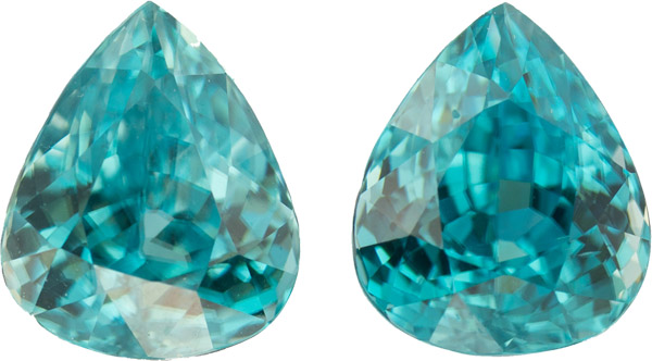 11.22 carats, 11.70 x 8.90 mm Pair of Genuine Zircon Gemstones in Pear Cut