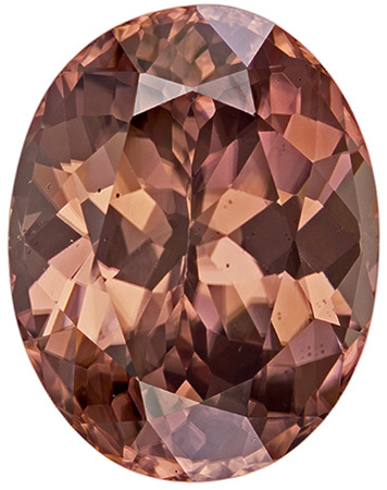 11.29 carats Brown Zircon Loose Gemstone Oval Cut, Rose Tinged Brown, 14.1 x 11 mm