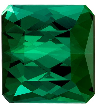 11.3 x 10.7 mm Green Tourmaline Genuine Gemstone in Emerald Cut, Grass Green, 7.97 carats