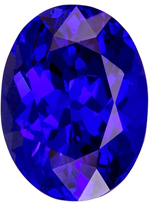 11.4 x 8.5 mm Tanzanite Genuine Gemstone in Oval Cut, Vivid Blue Purple, 4.28 carats
