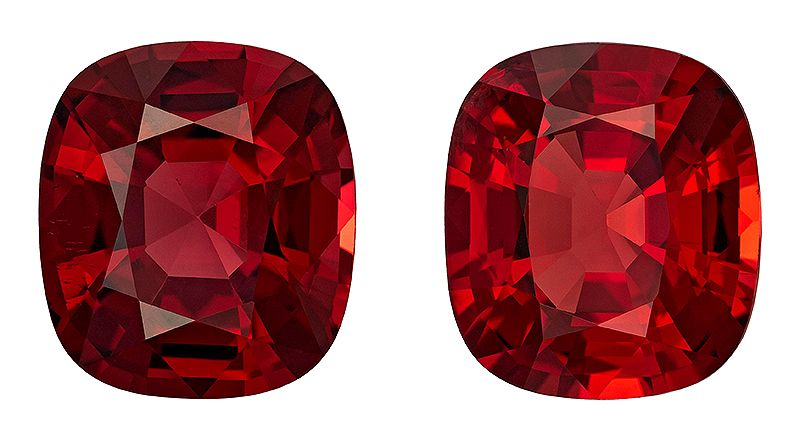 Very Rare Red Spinel Genuine Loose Gemstone Matched Pair in Cushion Cut, 11.49 carats, Pure Rich Red, 11.6 x 10.3 mm - GRS Certificate
