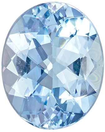 11.5 x 9.3 mm Aquamarine Genuine Gemstone Oval Cut, Pure Blue, 3.17 carats