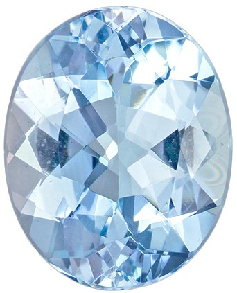 11.5 x 9.3 mm Aquamarine Genuine Gemstone in Oval Cut, Pure Blue, 3.17 carats