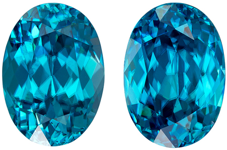 11.6 x 8.2 mm Blue Zircon Well Matched Gem Pair in Oval Cut, Vivid Teal Blue, 12.19 carats