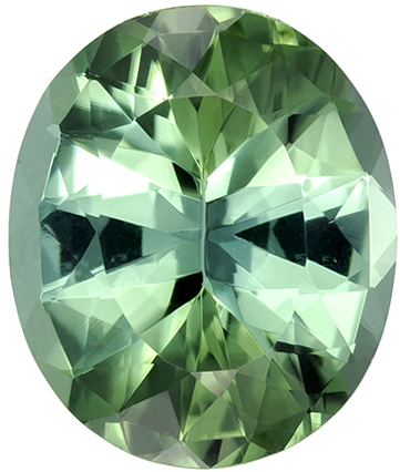 11.9 x 10 mm Blue Green Tourmaline Genuine Gemstone in Oval Cut, Medium Minty Green, 4.46 carats