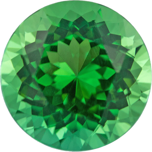 Incredible Chrome Tourmaline Round Cut, Spectacular Rare Gem in Vivid Green, 6.44 carats