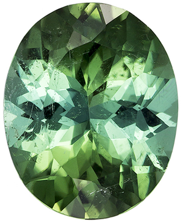 11 x 8.9 mm Green Tourmaline Genuine Gemstone in Oval Cut, Intense Minty Green, 3.01 carats