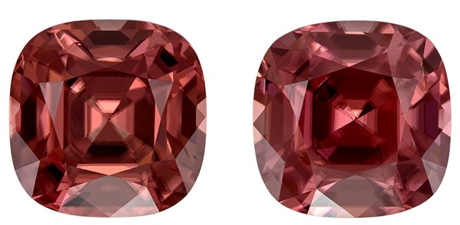 Great Deal on Brown Zircon Genuine Stones, 12.06 carats, Cushion Cut, 9.6 mm , Matching Pair, Amazing Low Price