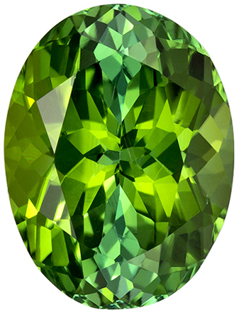 12.3 x 9.3 mm Green Tourmaline Genuine Gemstone in Oval Cut, Grass Green, 4.94 carats