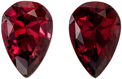 Well Matched Pear Shape Red Rhodolite Gem Pair, 12.42 carats, Medium Raspberry Red, 14.1 x 9.6 mm