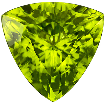 12.7 mm Peridot Genuine Gemstone in Trillion Cut, Medium Lime Green, 6.51 carats