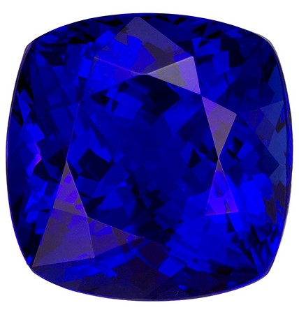 13.05 carats Tanzanite Loose Gemstone in Cushion Cut, Intense Blue Purple, 13.4 mm