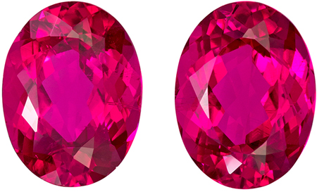 13.1 x 9.9 mm Rubellite Tourmaline Well Matched Gem Pair in Oval Cut, Vivid Rich Fuchsia, 11.38 carats