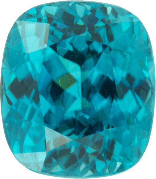 15.66 carats Fine Blue Zircon Gem in Antique Cushion Cut, Vivid Blue Greenish Color