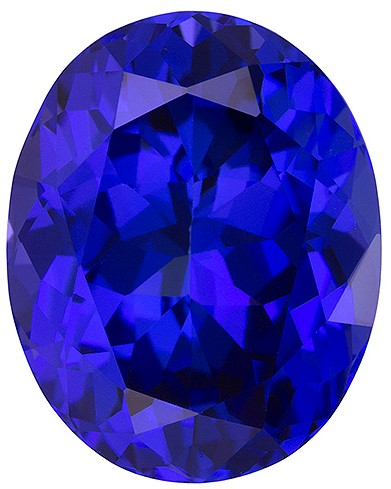 13.49 carats Tanzanite Loose Gemstone in Oval Cut, Medium Blue Purple, 16.5 x 13.1 mm