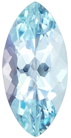 13.9 x 6.7 mm Aquamarine Genuine Gemstone in Marquise Cut, Pure Fine Blue Color in 2.24 carats
