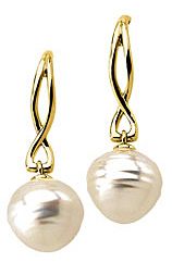 13mm Ornate South Sea Cultured Pearl Earrings set 14 karat Yellow Gold - SOLD